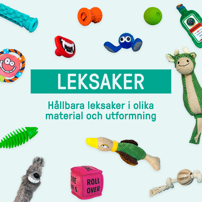 Olika typer av leksakser som finns i hundboxarna